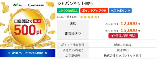 i2iポイント ジャパンネット銀行案件