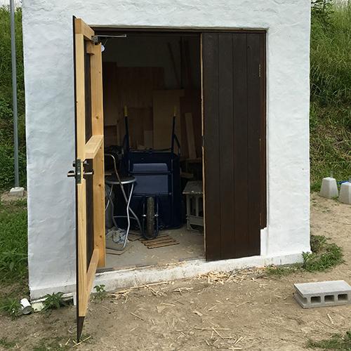一人で作るブロック小屋⑮ ~親子扉を作る~①
