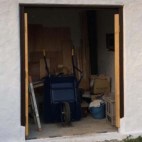 一人で作るブロック小屋⑮ ~親子扉を作る~②