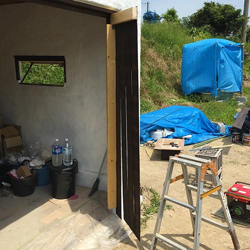 一人で作るブロック小屋⑮ ~親子扉を作る~④