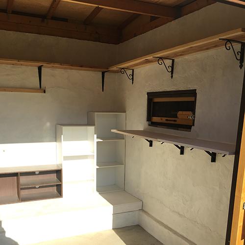 一人で作るブロック小屋⑱ ~棚を取り付ける~③
