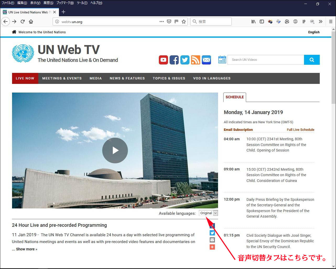 国連WEB_TV 音声切替タブ説明