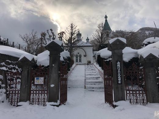 雪の函館ハリストス正教会