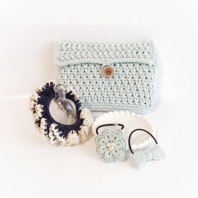 手編み雑貨 HanahanD ポーチ ヘアアクセサリー セット 福袋 特価