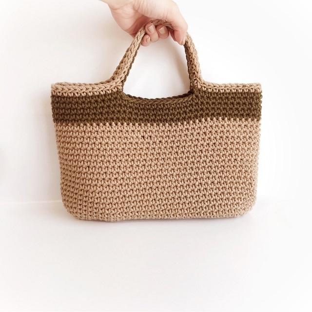 手編み雑貨 HanahanD コットン 手編み ハンドバッグ