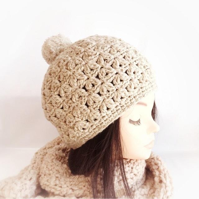 手編み雑貨 HanahanD 手編みの帽子 ニット帽