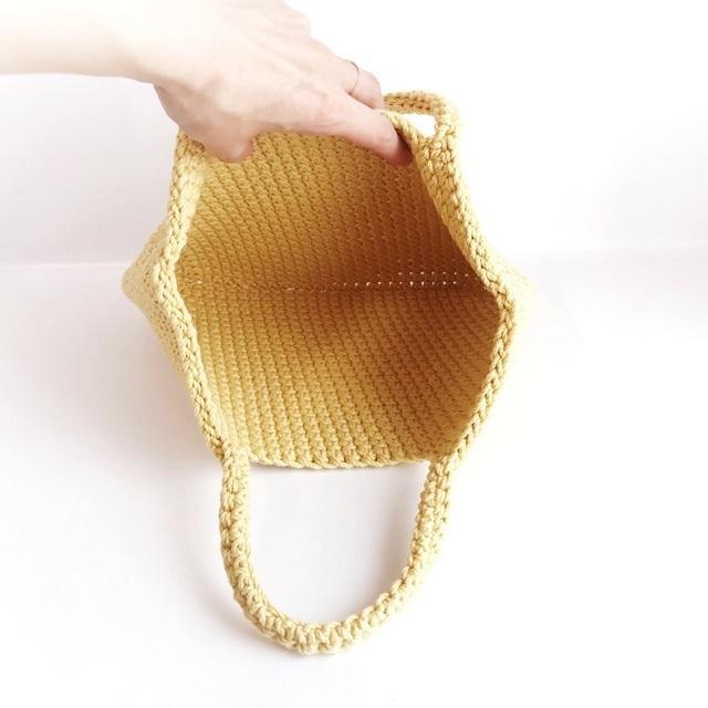 手編み雑貨 HanahanD コットンバッグ ハンドバッグ 手編みバッグ
