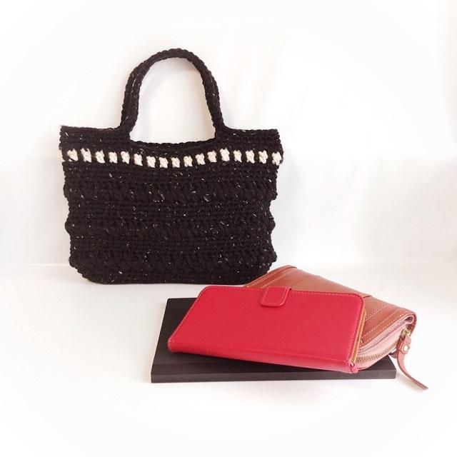 手編み雑貨 HanahanD 冬 お散歩バッグ 手編みバッグ
