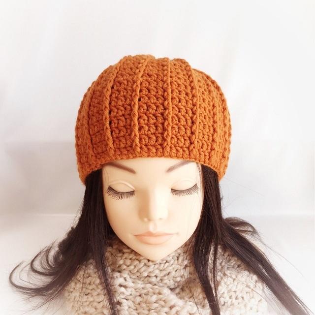手編み雑貨 HanahanD 小顔 ニット帽 手編み 冬小物