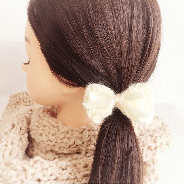 手編み雑貨 HanahanD 手編み リボン ヘアゴム 冬 ヘアアクセサリー