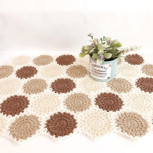 手編み雑貨 HanahanD モチーフ繋ぎ ドイリー 敷物 冬のインテリア