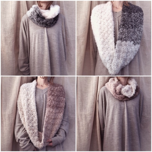 手編み雑貨 HanahanD スヌード ふわふわ 冬小物 プレゼント ショール