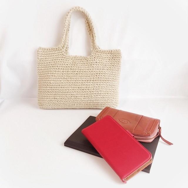 手編み雑貨 HanahanD シルク バッグ ナチュラル シンプル