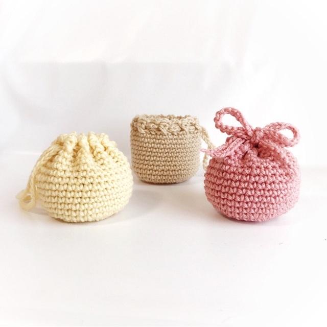 手編み雑貨 HanahanD ウール 巾着 ポーチ 冬小物