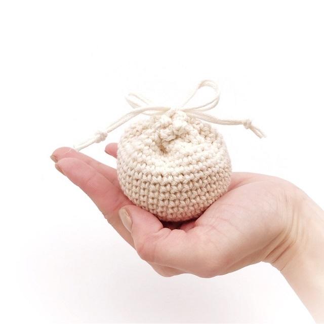 手編み雑貨 HanahanD オーガニックコットン 巾着 ナチュラル