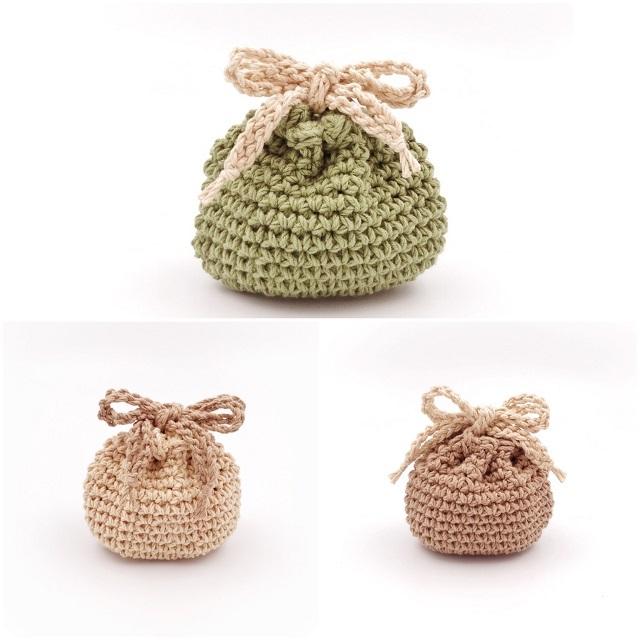 手編み雑貨 HanahanD 巾着袋 極太 コットン 手編み 年中素材