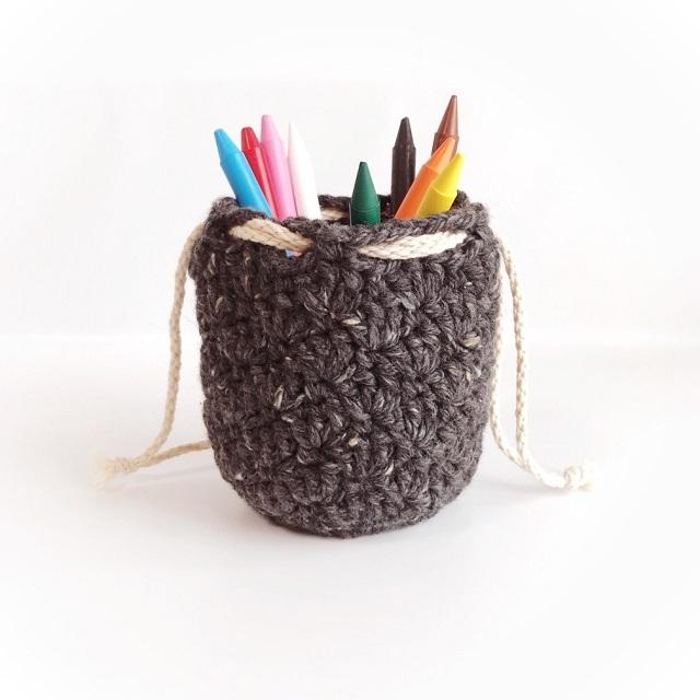 手編み雑貨 HanahanD ウール 手編み巾着 インテリア