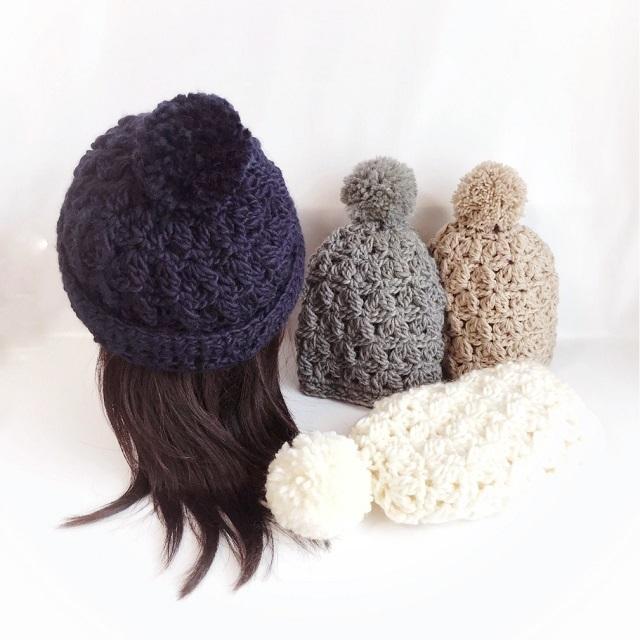 手編み雑貨 HanahanD ニット帽 ポンポン ナチュラル 定番カラー