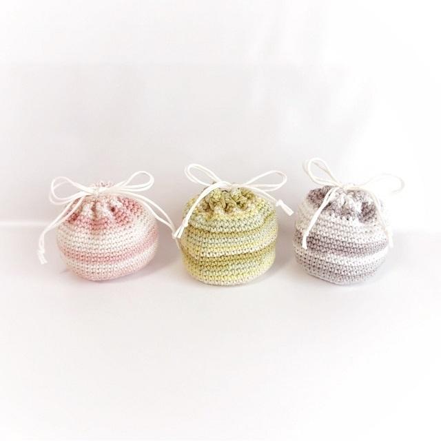 手編み雑貨 HanahanD グラデーション コットン 巾着袋