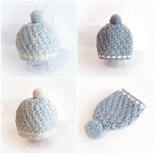 手編み雑貨 HanahanD ニット帽 キッズ ポンポン