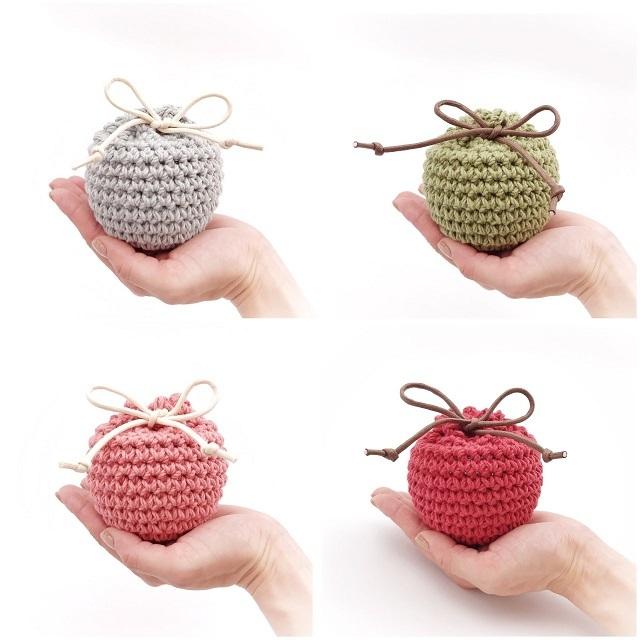 手編み雑貨 HanaahanD 巾着 コットン 丸型 年中素材 インテリア