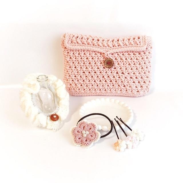 手編み雑貨 HanahanD ポーチ ヘアアクセサリー ギフト 福袋 セット 特価