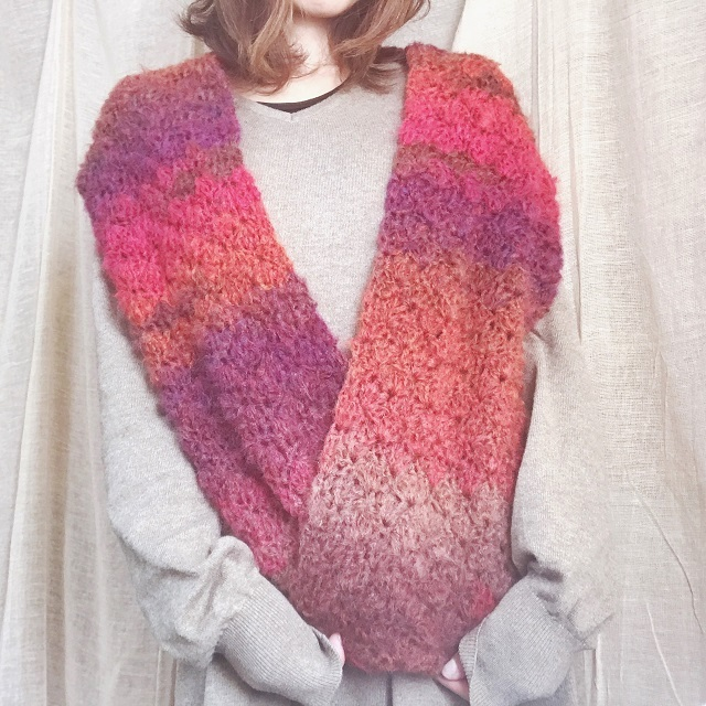 手編み雑貨 HanahanD 冬ファッション スヌード 2way