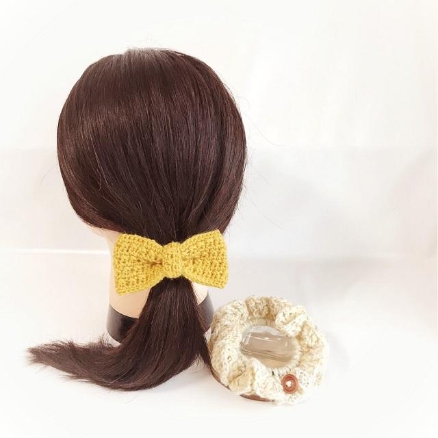 手編み雑貨 HanahanD リボンのヘアゴム フリルシュシュ ヘアアクセサリー 冬小物