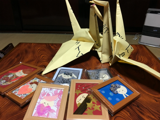 20181215古民家でクリスマスパーティー、まさかあれが鶴に、、