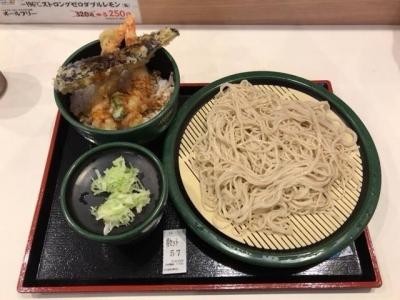 180705ゆで太郎名古屋長者町店日替わり丼セット500円は海老天丼で海老2尾