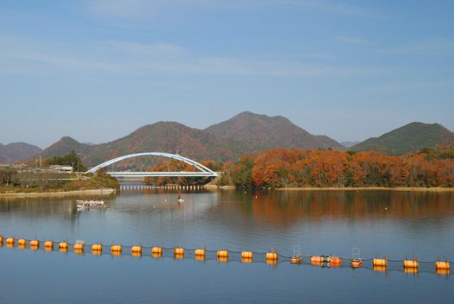 千丈寺湖から千丈寺山が見える