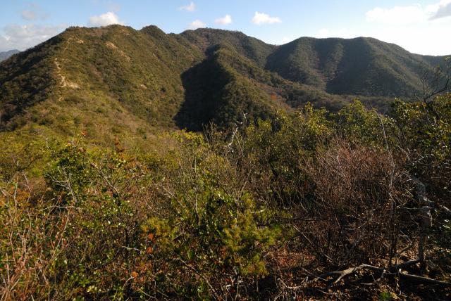 三草山登山道_三草コースから眺める山頂