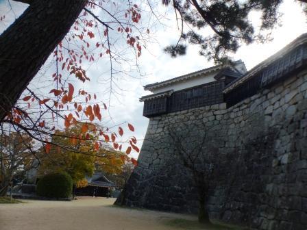 天神櫓 と桜の紅葉