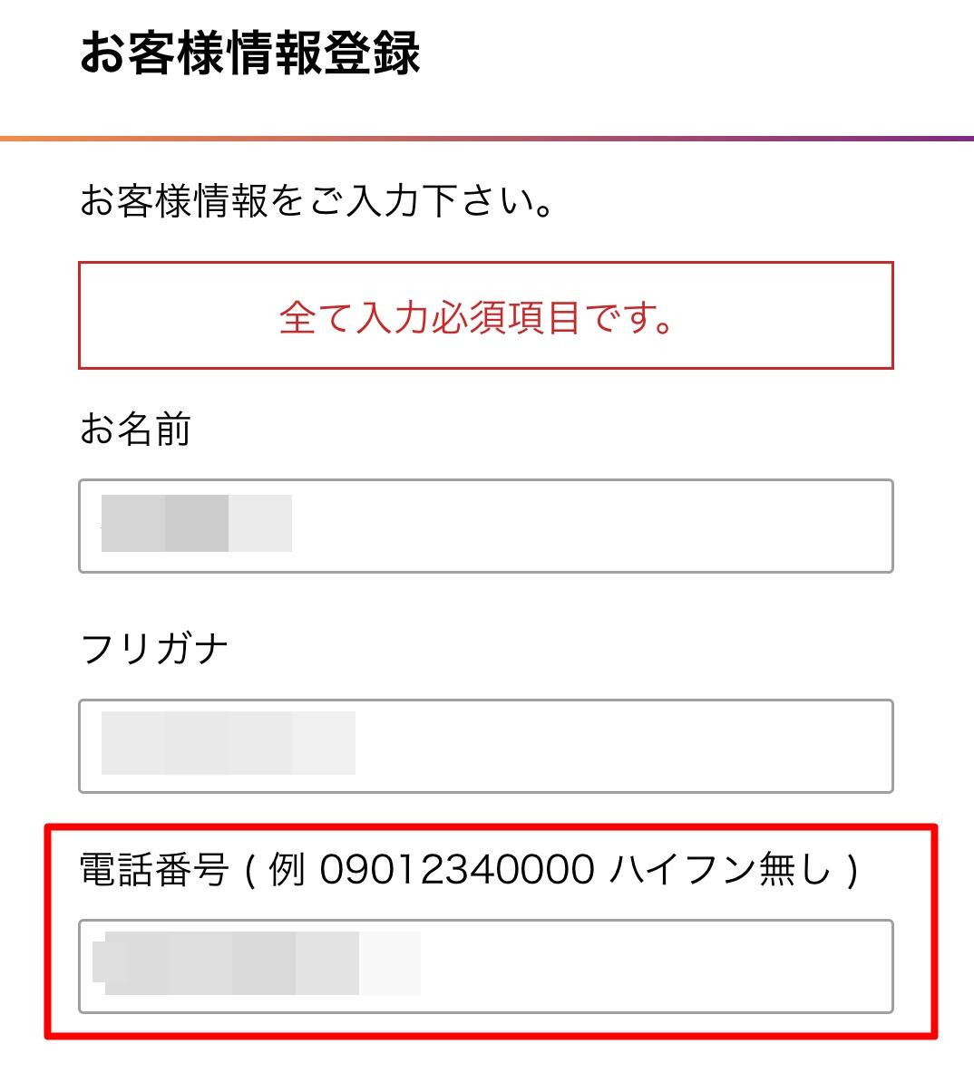 杉山直人 レジスタンスアプリお客様情報登録画面