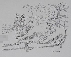 22 -1 藤代清治 「光ほのか」挿絵 少女エグランティイヌス 犬のトゥフ