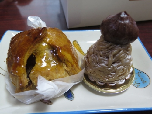 アップルパイと和栗のモンブラン