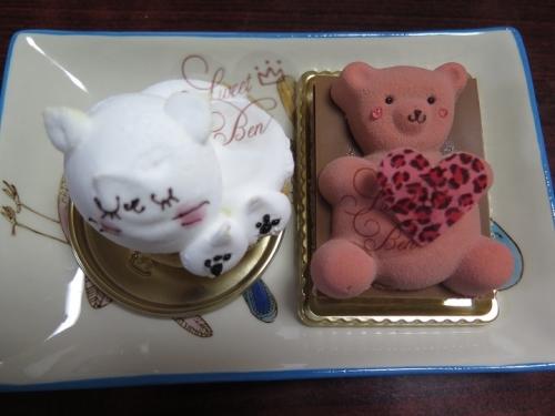 ニャンコケーキとクマちゃんケーキ