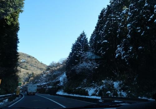 雪が残っている箱根