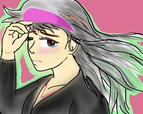 宮沢 風 なびく   髪   みどりピンク