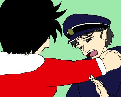 警察官 ラリアット食らう  ぽらん みど