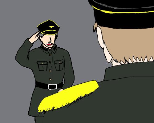 敬礼 兵士 ルチア 背中   灰