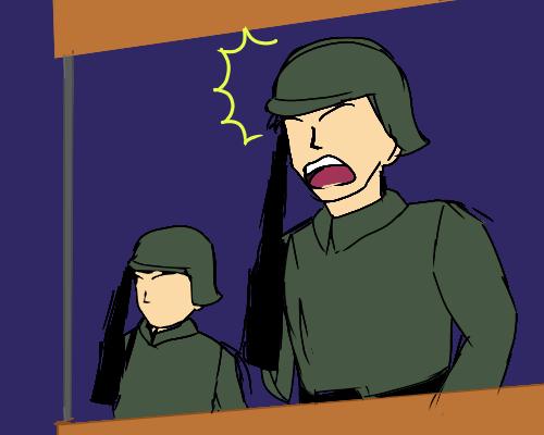 は 兵士  2人  よる