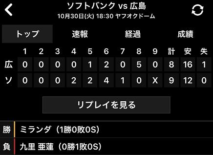 10302018 Carp対SB 8-9敗戦 S
