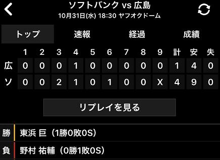 10312018 Carp対SB 1-4敗戦 S