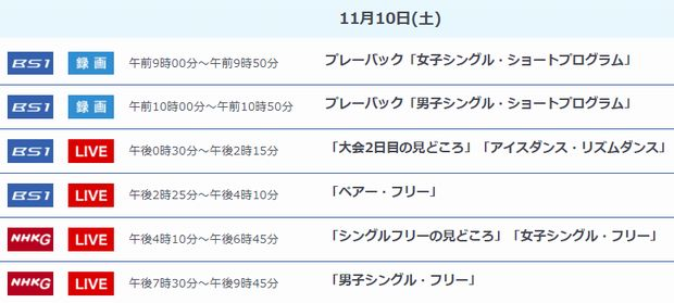 2018.11.10(土)NHK杯放送予定
