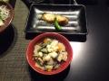 後から配膳される温料理、こづゆと焼き魚。これも美味い
