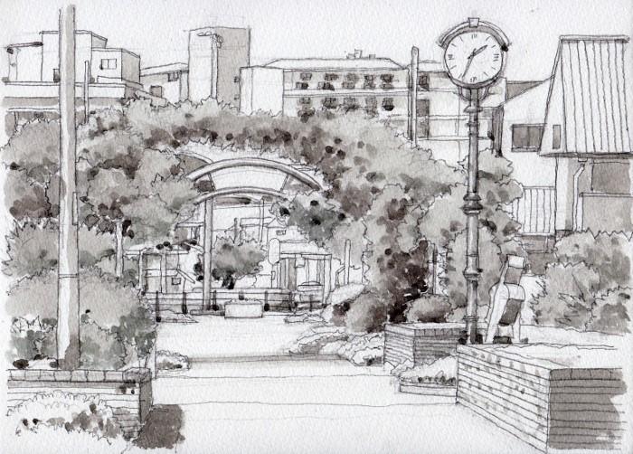 鶴見からの散歩道 グリザイユ2 (700x502)