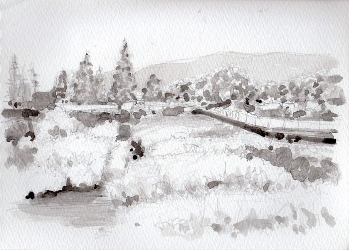 公園沿いの川 グリザイユ (700x503)