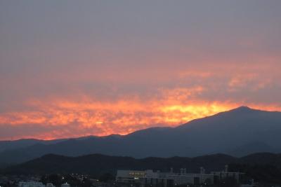 10月16日、大山の夕日