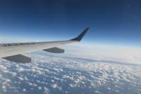 都城からの帰りの機上
